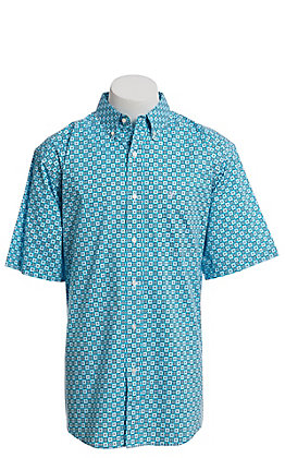Ariat Cavender's Exclusive Men's Turquoise With All Over Black And White Medallion Print Short Sleeve Western Shirt