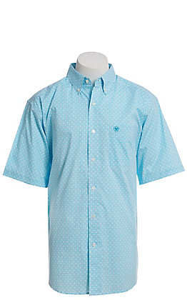 Ariat Cavender's Exclusive Men's White With All Over Turquoise Medallion Print Short Sleeve Western Shirt - Big & Tall