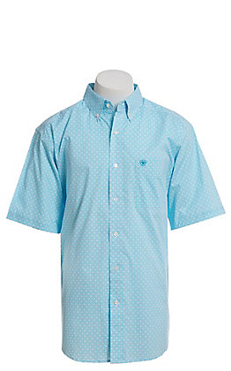 Ariat Cavender's Exclusive Men's White With All Over Turquoise Medallion Print Short Sleeve Western Shirt