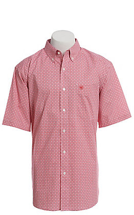 Ariat Cavender's Exclusive Men's White With All Over Red Medallion Print Short Sleeve Stretch Western Shirt - Big & Tall