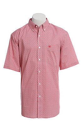 Ariat Cavender's Exclusive Men's White With All Over Red Medallion Print Short Sleeve Stretch Western Shirt