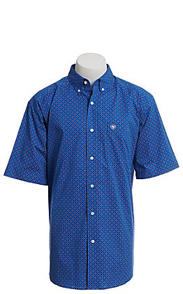 Ariat Cavender's Exclusive Men's Blue With All Over Red And White Print Short Sleeve Western Shirt