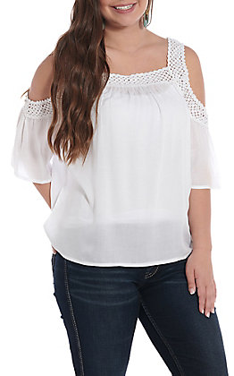 Ariat Women's White Crochet Cold Shoulder Fashion Top