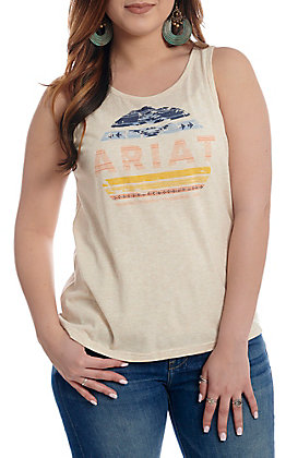 Ariat Women's Cream with Serape Rainbow Logo Sleeveless Tank Top