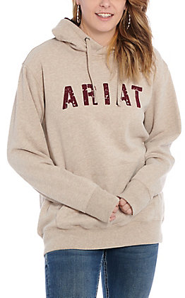Ariat R.E.A.L. Women's Beige with Maroon Logo Pullover Hoodie