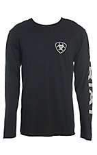 Ariat Cavender's Exclusive Men's Black and Grey Branded L/S Graphic T-Shirt