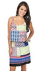 Renee C. Women's Blue & Red Mixed Print with Tiered Top Sleeveless Dress