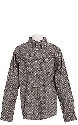 Ariat Chuck Boys' Charcoal Geometric Print Long Sleeve Western Shirt