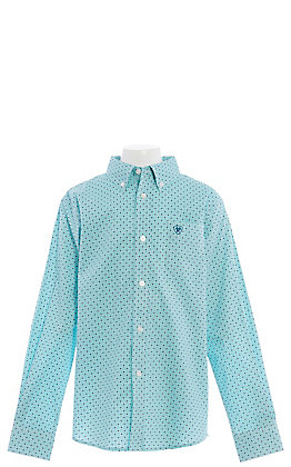 Ariat Cavender's Exclusive Boys' Stretch Medallion Print Short Sleeve Turquoise Shirt