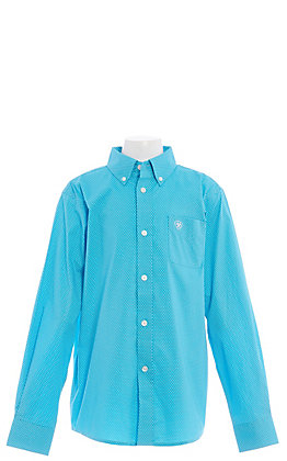 Ariat Shafter Cavender's Exclusive Boys' Stretch Blue Medallion Print Long Sleeve Western Shirt