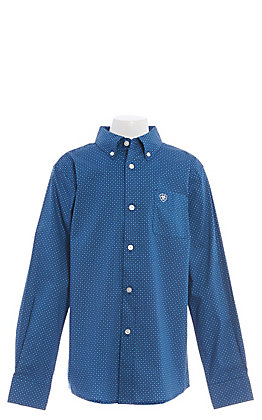 Ariat Cavender's Exclusive Boys' Navy Blue Medallion Print Long Sleeve Western Shirt