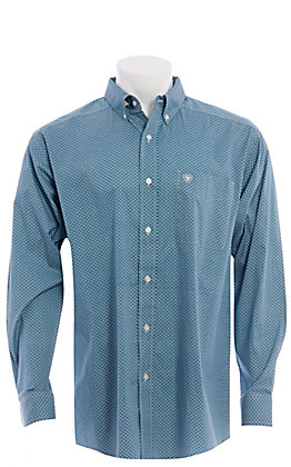 Ariat Cavender's Exclusive Men's Teal Diamond Print Long Sleeve Western Shirt - Big & Tall