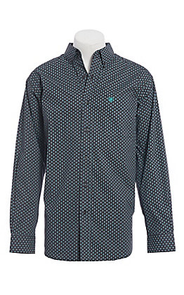 Ariat Cavender's Exclusive Men's Black and Teal Medallion Print Long Sleeve Western Shirt