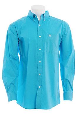 Ariat Cavender's Exclusive Men's Blue Medallion Print Long Sleeve Western Shirt