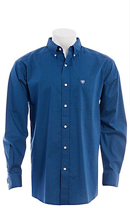 Ariat Men's Cavender's Exclusive Navy Blue Medallion Print Long Sleeve Western Shirt
