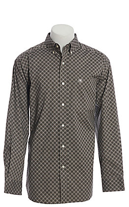 Ariat Cavender's Exclusive Men's Charcoal Geo Print Long Sleeve Western Shirt