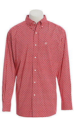 Ariat Cavender's Exclusive Men's Strawberry Red Geo Print Long Sleeve Western Shirt - Big & Tall
