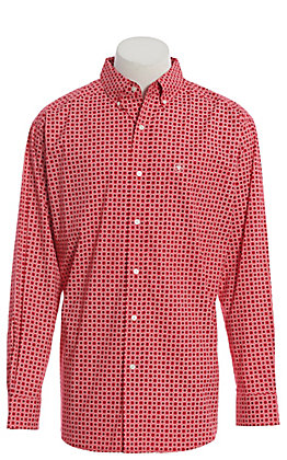 Ariat Cavender's Exclusive Men's Strawberry Red Geo Print Long Sleeve Western Shirt