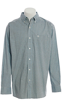 Ariat Cavender's Exclusive Men's Sky Blue Geo Print Long Sleeve Western Shirt