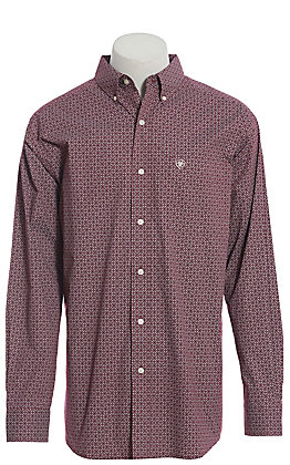 Ariat Cavender's Exclusive Men's Merlot Medallion Print Long Sleeve Western Shirt - Big & Tall