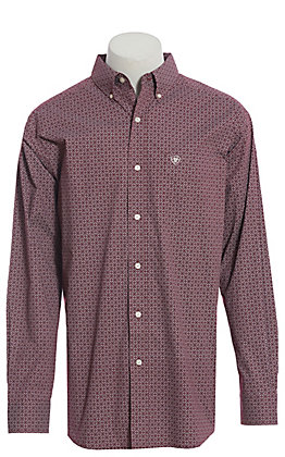 Ariat Cavender's Exclusive Men's Merlot Medallion Print Long Sleeve Western Shirt