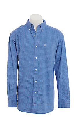 Ariat Cavender's Exclusive Men's Cobalt Geometric Print Long Sleeve Western Shirt