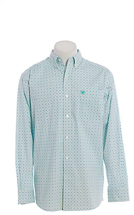 Ariat Cavender's Exclusive Men's Drift Turquoise Geo Print Long Sleeve Western Shirt