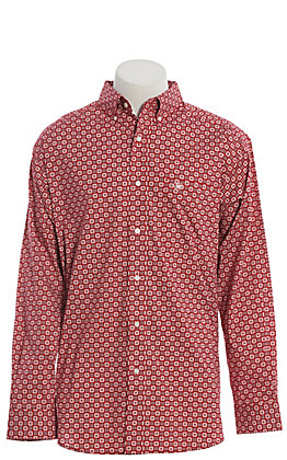 Ariat Cavender's Exclusive Men's True Crimson Medallion Print Long Sleeve Western Shirt