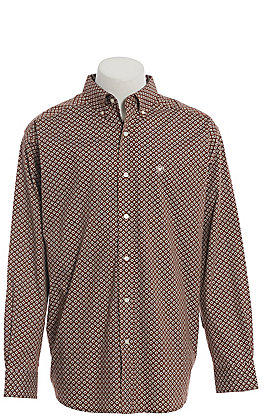 Ariat Cavender's Exclusive Men's Chocolate Geo Print Long Sleeve Western Shirt
