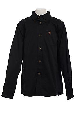 Ariat Boys' Black Twill Long Sleeve Western Shirt