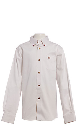Ariat Boys' White Twill Long Sleeve Western Shirt