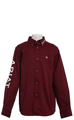 Ariat Boys' Burgundy Team Logo Long Sleeve Western Shirt