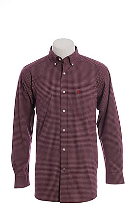 Ariat Pro Dotson Men's Malbec Plaid Cavender's Exclusive Long Sleeve Western Shirt - Big & Tall