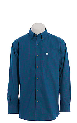 Ariat Pro Cavender's Exclusive Men's Blue Plaid Long Sleeve Western Shirt