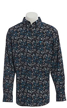 Ariat Cavender's Exclusive Men's Black Paisley Print Long Sleeve Western Shirt