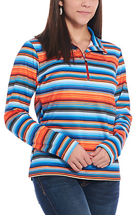 Ariat Women's Conquest Orange and Blue Serape Print Quarter Zip Cavender's Exclusive Pullover Jacket