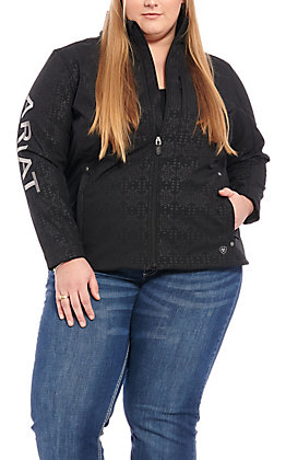 Ariat Women's Plus Size Black Aztec with Grey Logo Team Softshell Jacket - Cavender's Exclusive