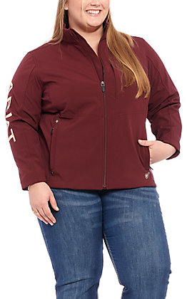 Ariat Women's Plus Size Maroon Aztec with Cream Logo Team Softshell Jacket - Cavender's Exclusive