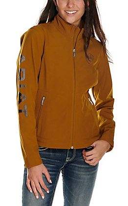 Ariat Women's Mustard with Grey Logo Team Softshell Jacket
