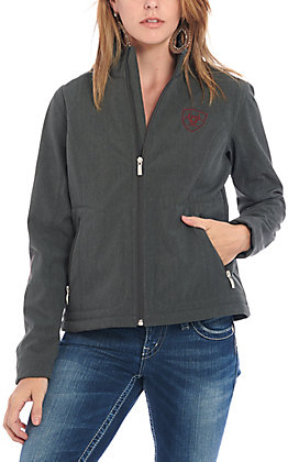 Ariat Women's Dark Charcoal with Red Logo Team Softshell Jacket
