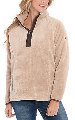 Ariat Women's Beige Dulcet Fleece Quarter Zip Cavenders' Exclusive Pullover Jacket