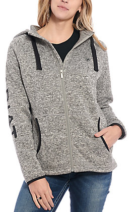 Ariat Women's Grey with Black Logo Cavender's Exclusive Hooded Fleece Jacket