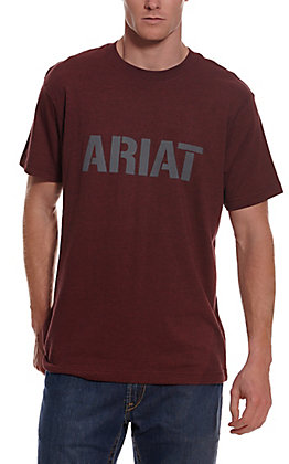 Ariat Men's Rebar Cotton Strong Heather Burgundy Block Logo Graphic Short Sleeve Work T-Shirt