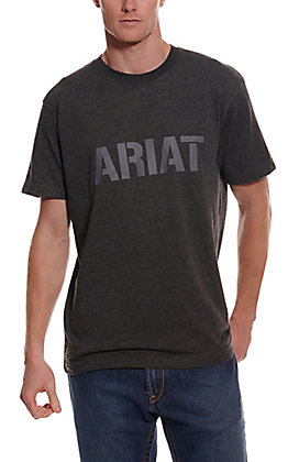 Ariat Men's Rebar Cotton Strong Charcoal Heather Block Logo Graphic Short Sleeve Work T-Shirt