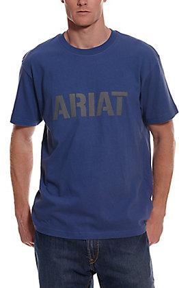 Ariat Men's Rebar Cotton Strong Metal Blue Block Logo Graphic Short Sleeve Work T-Shirt