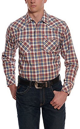 Ariat Men's Granite Retro Blue and Orange Plaid Long Sleeve FR Work Shirt
