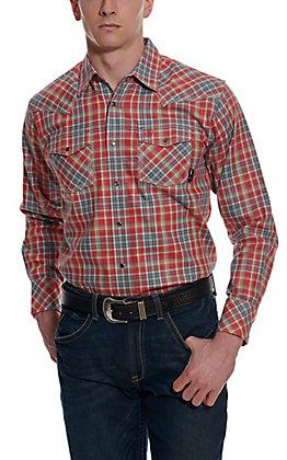 Ariat Men's Garrison Chili Pepper Red Plaid Long Sleeve FR Work Shirt