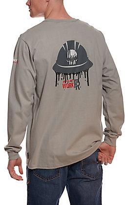 Ariat Men's Silver Fox Grey American Oil Graphic Long Sleeve FR Work T-Shirt
