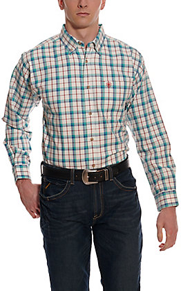 Ariat Men's Pecos White and Teal Plaid Long Sleeve FR Work Shirt