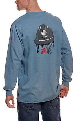 Ariat Men's Steel Blue American Oil Graphic Long Sleeve FR Work T-Shirt